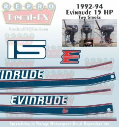 details about 1992 94 evinrude 15 hp outboard reproduction 8 piece marine vinyl decals [ 1000 x 1000 Pixel ]