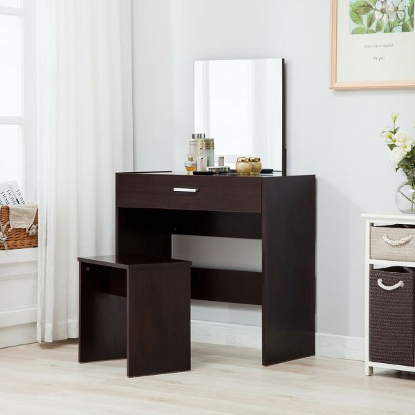 Vanity Espresso Dressing Table Stool Set Makeup Dresser