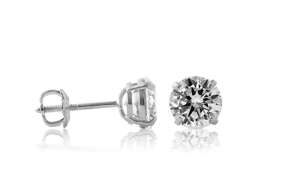 14K White Gold Round Brilliant Cut Created Diamond Screw