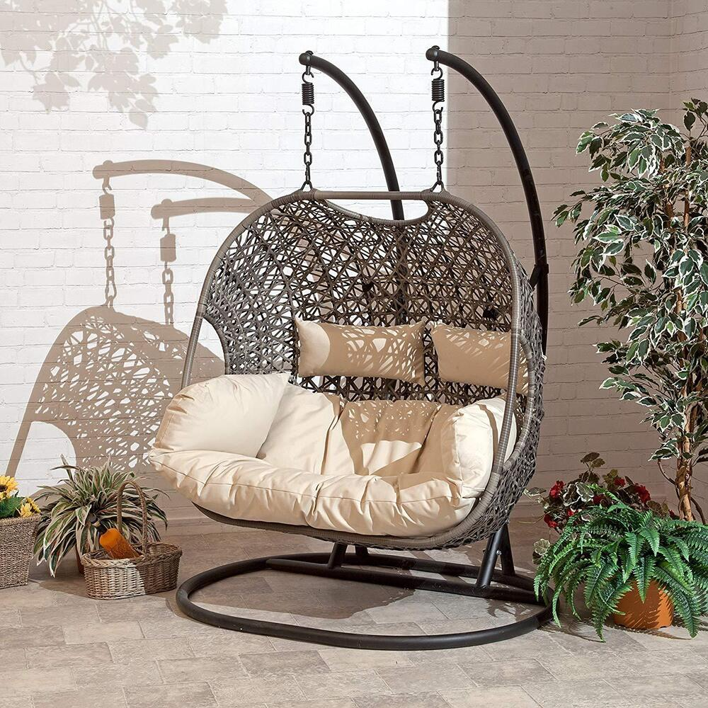 Double Cocoon Chair Swing Wicker Rattan Hanging Garden Furniture Cushion  eBay