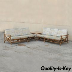 Bamboo Couch And Chairs Babybjorn Potty Chair Reviews Vtg Mid Century Ficks Reed 5 Pc Rattan Tiki Set Sofa Table Details About Pair