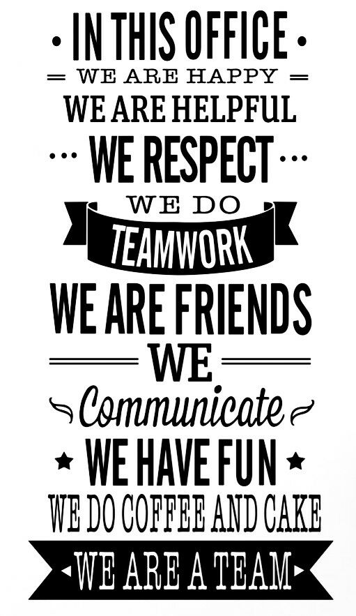 OFFICE RULES TEAMWORK VINYL WALL DECAL QUOTE DECOR