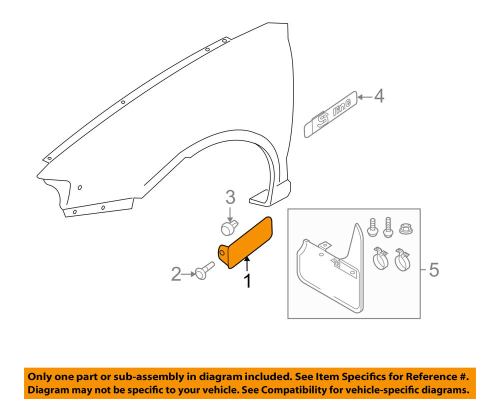 hight resolution of details about audi oem 06 13 a3 front fender lower molding trim panel right 8p0853992bgru