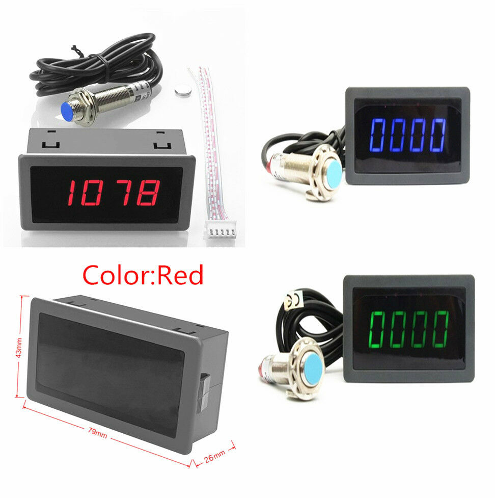 hight resolution of details about 4 digital red led tachometer rpm speed meter hall proximity switch sensor npn