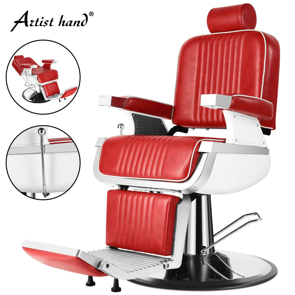 Red Barber Chair Heavy Duty Hydraulic Recline Red Barber Chair Salon Beauty All Purpose Equipment 610877120383 Ebay