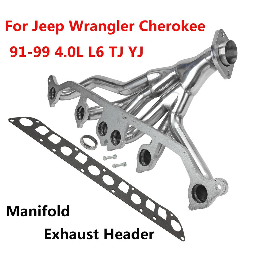 hight resolution of details about stainless exhaust manifold header for 91 99 jeep wrangler cherokee 4 0l l6 tj yj