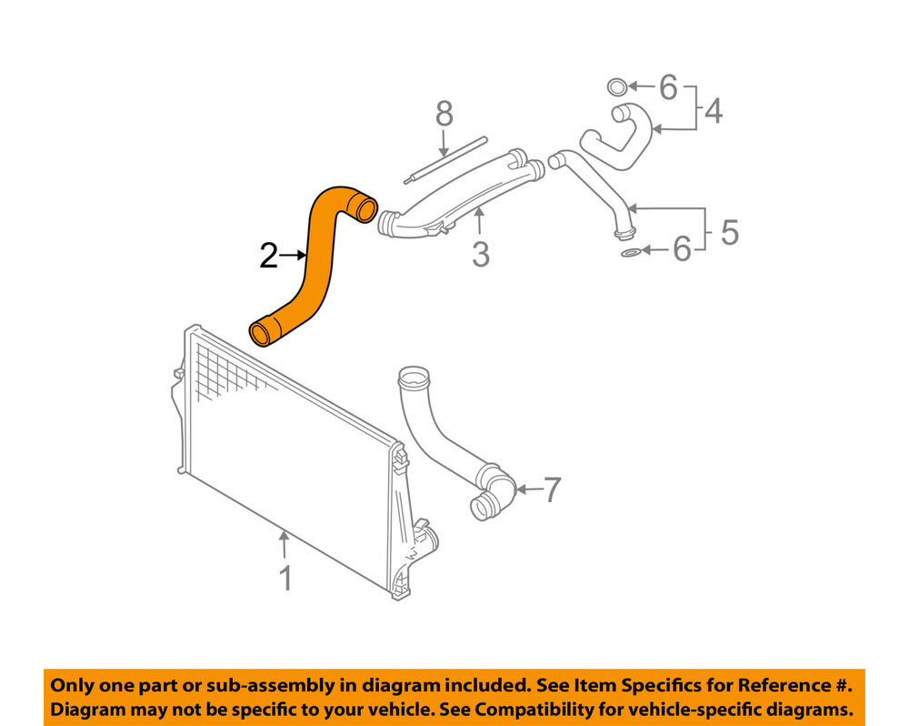 hight resolution of volvo oem 03 05 xc90 intercooler hose tube 9489968 ebay duramax intercooler hose diagram details about