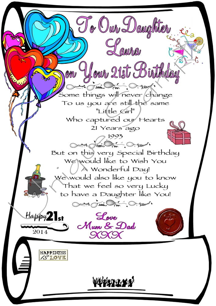 21st BIRTHDAY Daughter Son Personalised Laminated Print