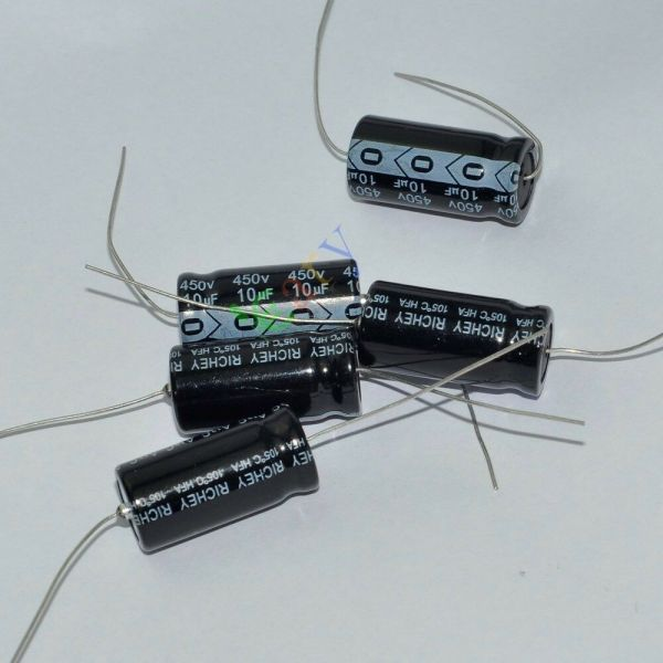 5pc 450v 10uf 105c Long Copper Leads Axial