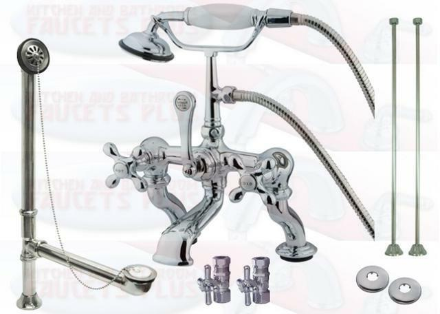 ebay kitchen faucets reclaimed table chrome clawfoot tub faucet drain supplies stops kit |