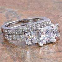 3.75Ct Princess Cut 3 Stone Engagement Wedding Ring Set