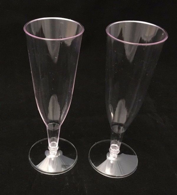 56 - Clear Plastic Champagne Glasses Flutes Party