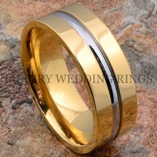 Titanium Ring 14K Gold Mens Wedding Band Silver Color