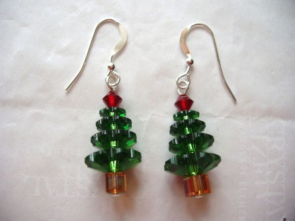 CHRISTMAS TREE EARRINGS made wSWAROVSKI CRYSTALS Holiday