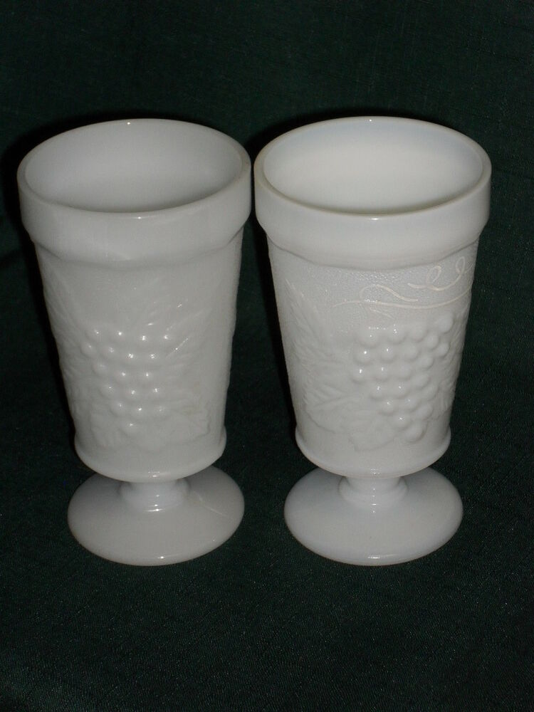 Pair Of 575 MILK GLASS DRINKING GOBLETS Grape Vine Design EBay