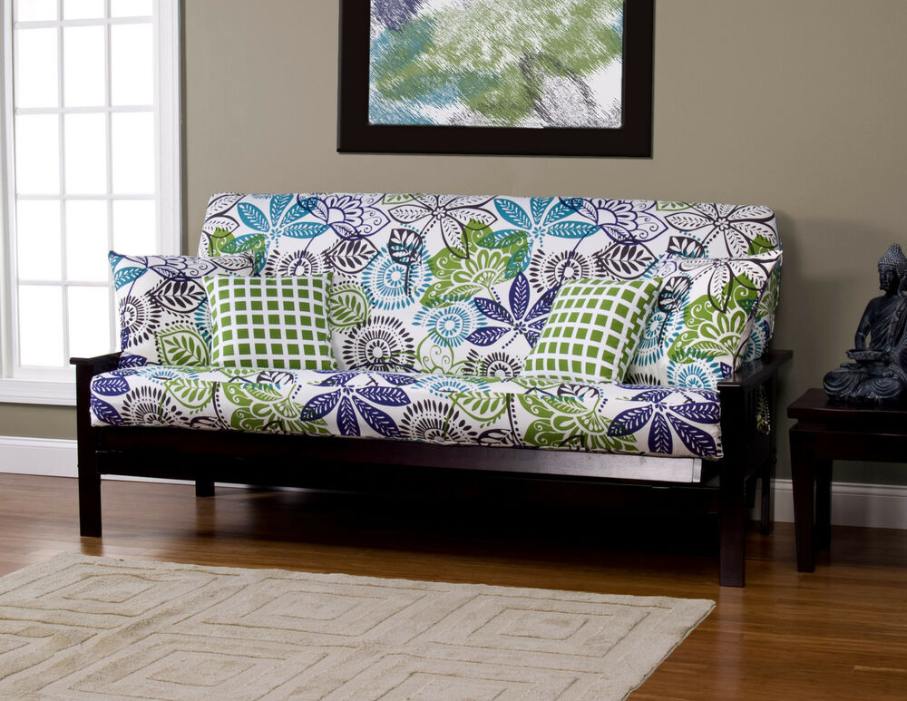 Bali Floral White Blue Green SIS Futon Cover Choose Size EBay