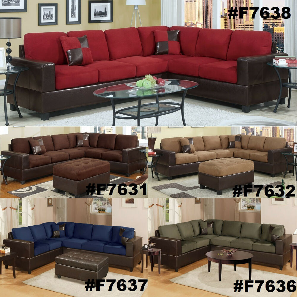 Chocolate Sectional Couch 2 Pc Sofa Loveseat Wedge Microfiber Plush Sectionals  eBay