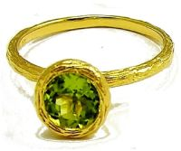 18K Solid Yellow Gold and Green Peridot Round Solitaire ...
