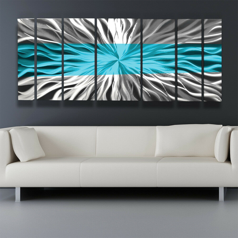 Metal Wall Art Blue Modern Abstract Sculpture Painting