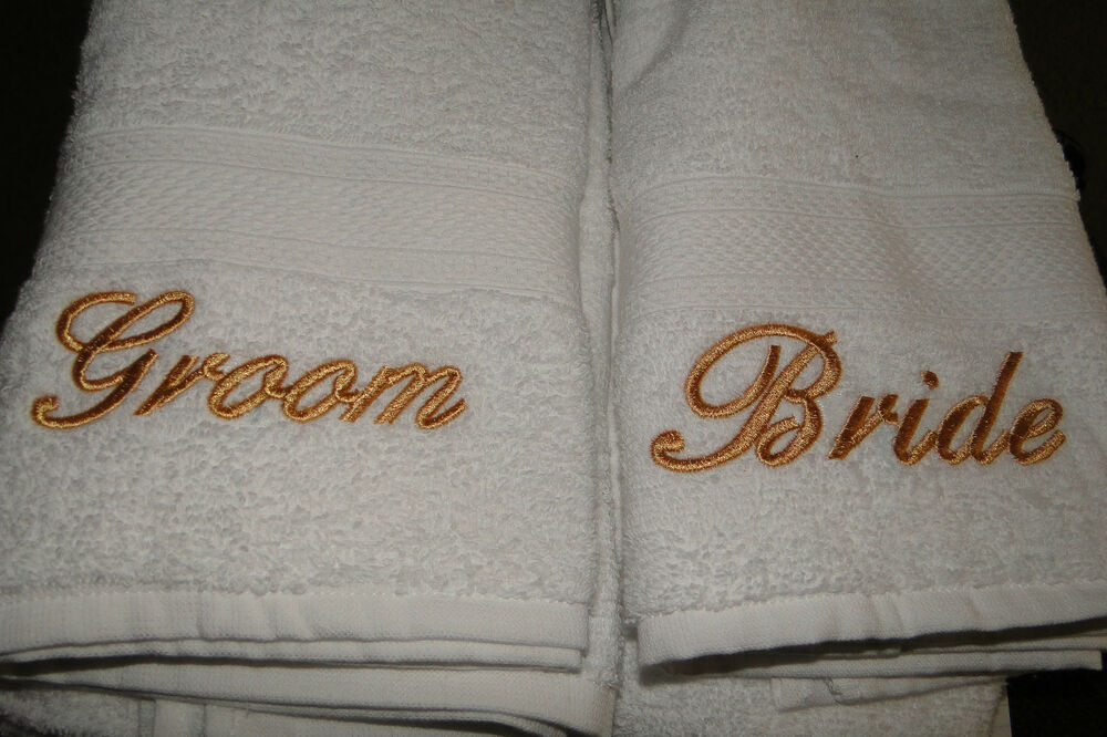 Bride And Groom Embroidered Towel Wedding Gift Set
