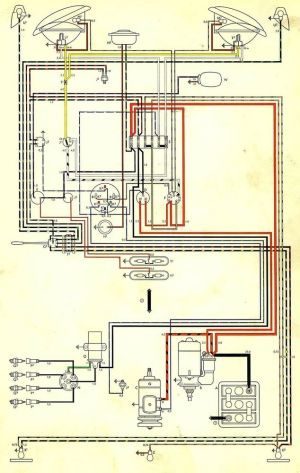 Volkswagen Wiring Diagram BUS AND TRANSPORTER 1970 VW