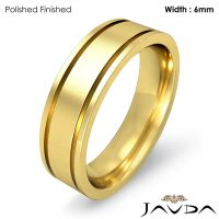 Men Wedding Solid Band 18k Yellow Gold Flat Fit Plain Ring