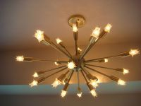 SPUTNIK STARBURST LIGHT FIXTURE CHANDELIER LAMP SATIN ...