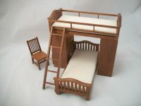 Bunk Bed w/ Chair & Desk dollhouse miniature 1/12 scale ...