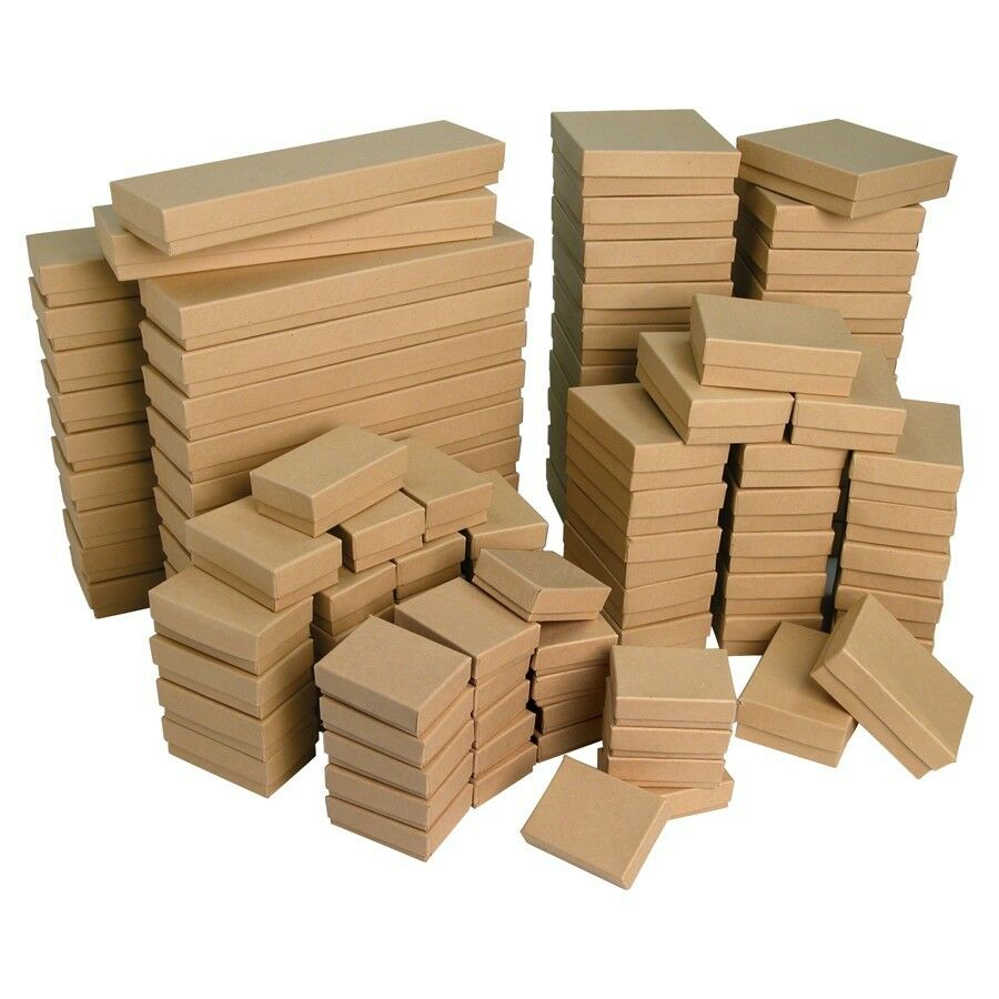 WHOLESALE BOXES 100 KRAFT COTTON FILLED BOXES JEWELRY
