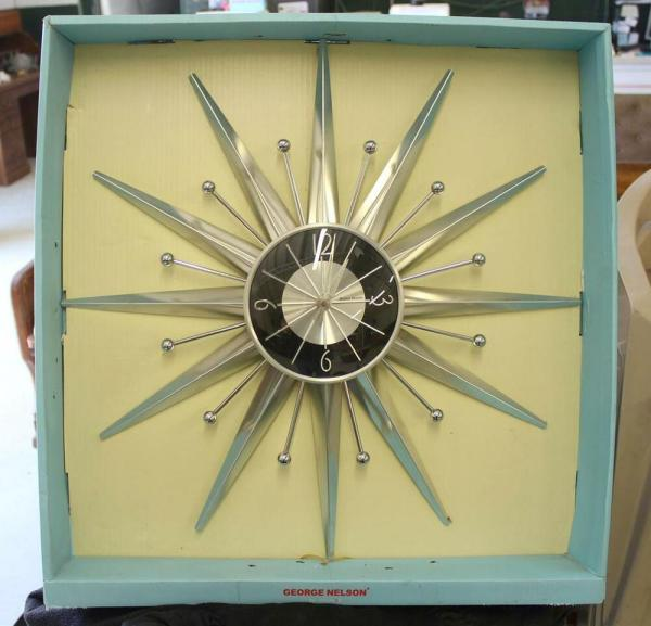 George Nelson Chrome Sunburst Starburst Wall Clock Kirch Verichron Quartz