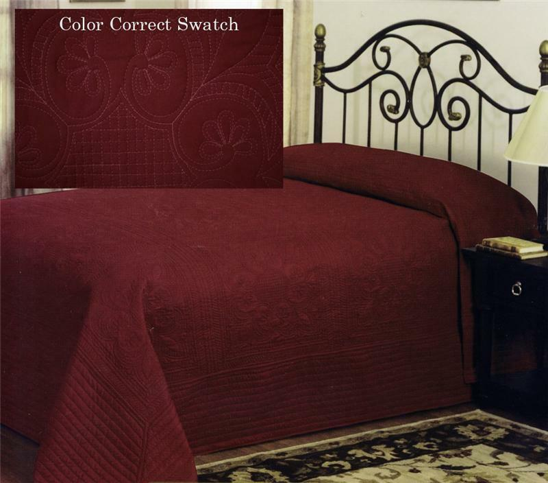 COUNTRY FRENCH DEEP RED OVERSIZED BEDSPREAD COVERLET