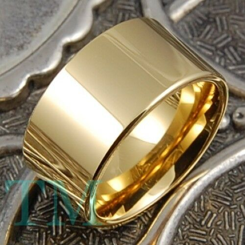 12mm Tungsten Ring 14K Gold Mens Wedding Band Pipe Engagement Jewelry Size 615  eBay