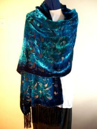 Velvet devore scarf/shawl Blue/jade green floral design on ...