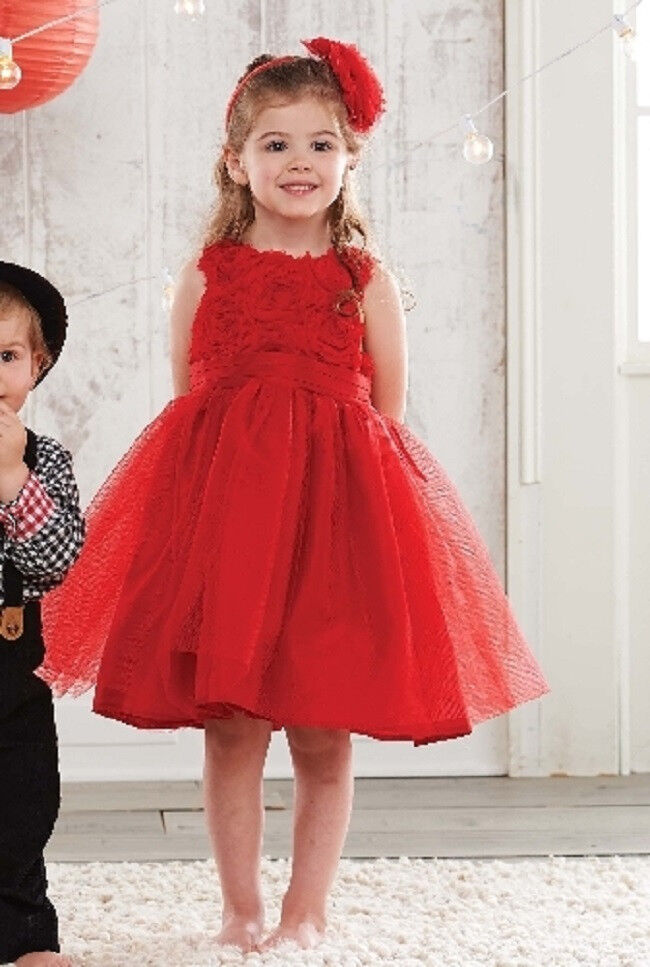 New Mud Pie RED ROSETTE PARTY DRESS Christmas Holiday