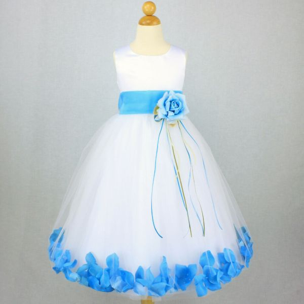 White Turquoise Flower Girl Dress Petals Gown Recital