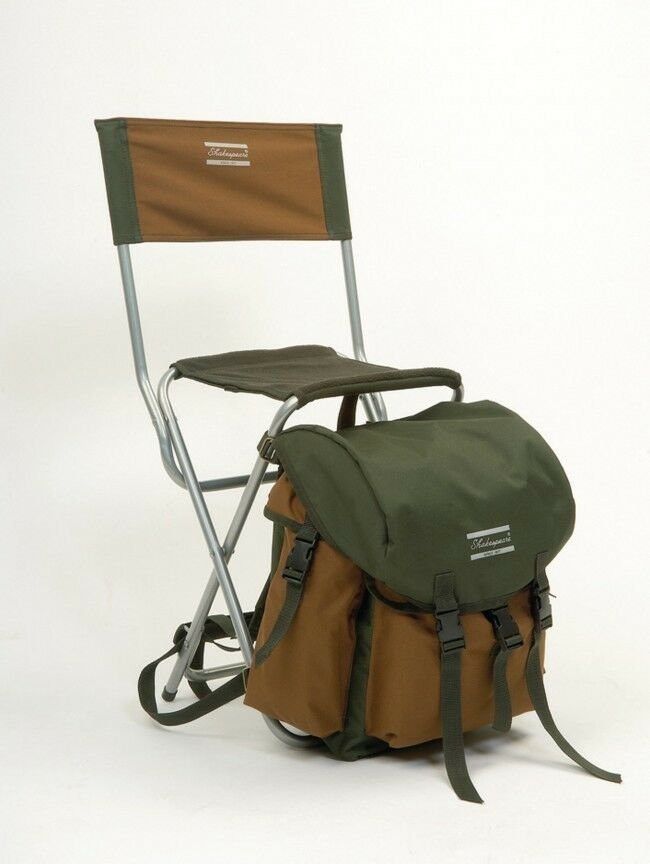 fishing backpack chair bar stools and chairs shakespeare stool rucksack walking bag with back rest | ebay