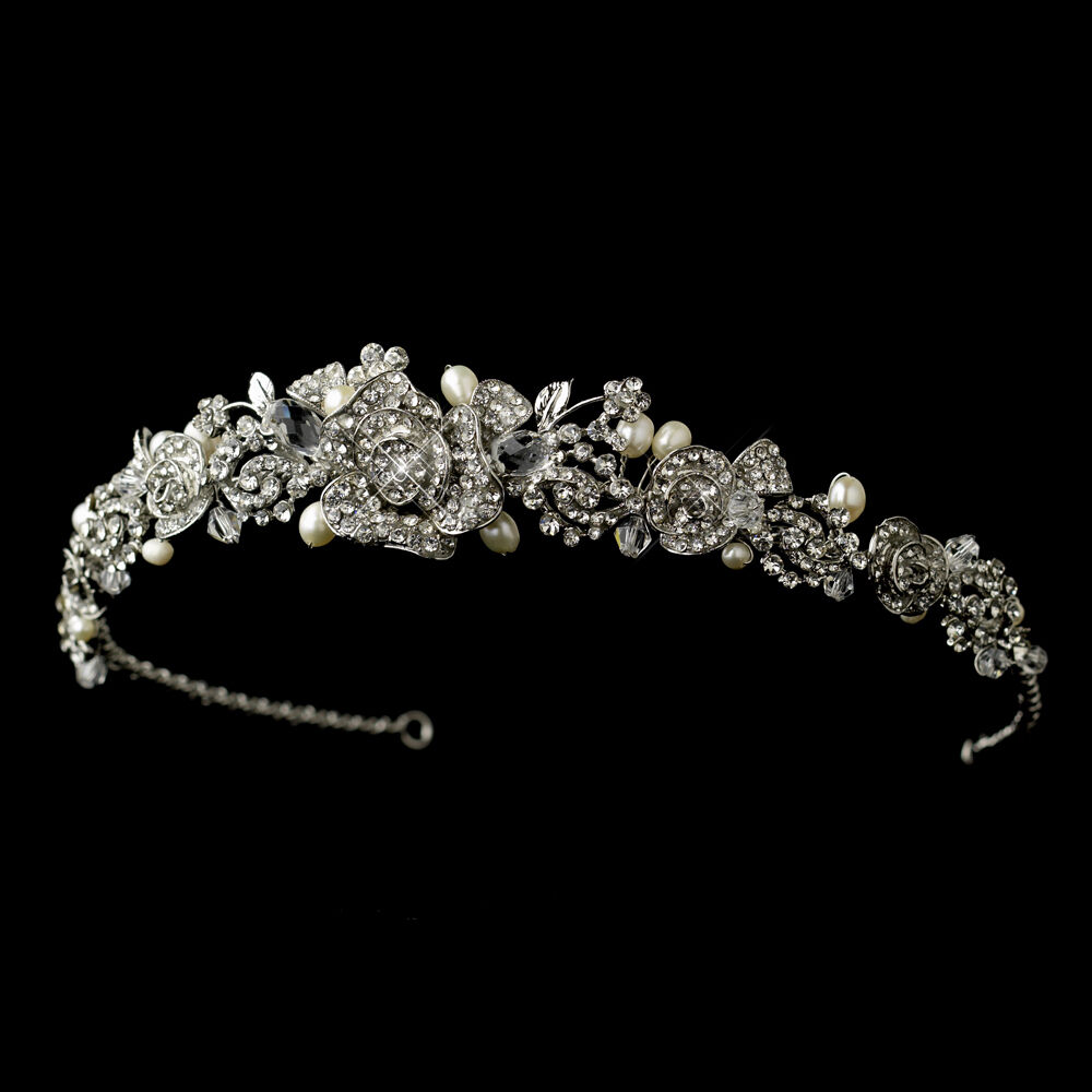 Antique Silver Clear Rhinestone Amp Freshwater Pearl Rose
