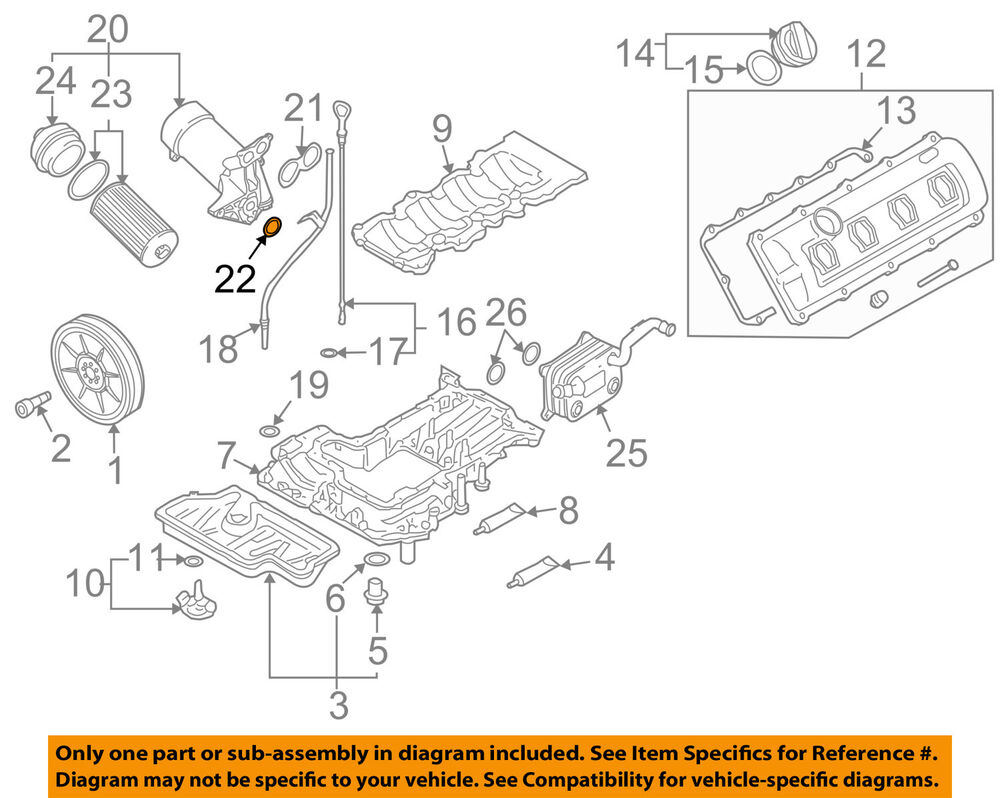 hight resolution of details about audi oem 04 09 s4 engine oil filter housing seal n90959701