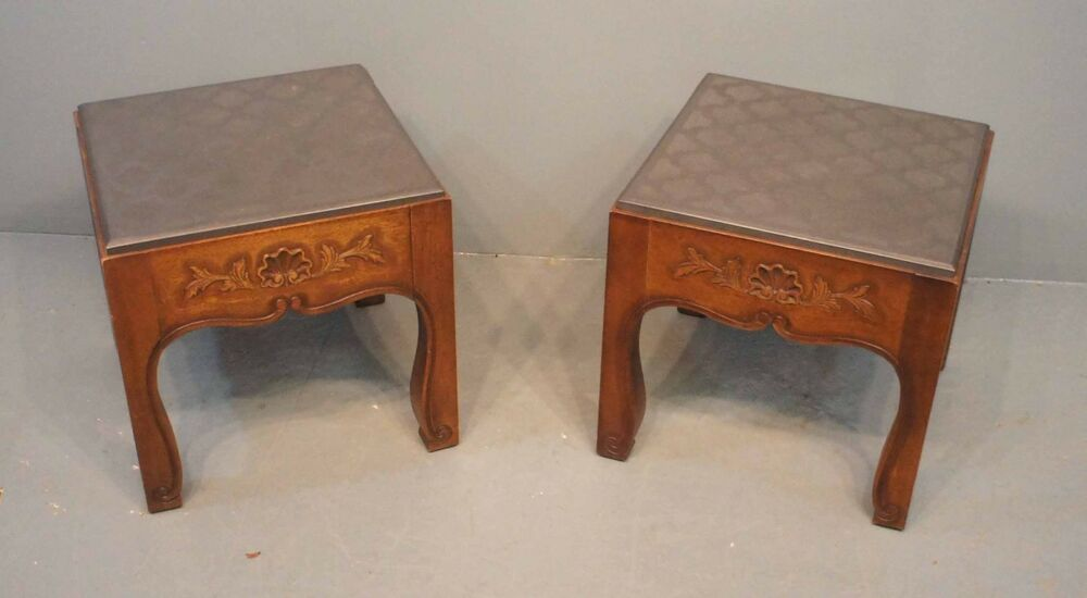 DREXEL French In The Country Pair Square Wood Amp Slate Top