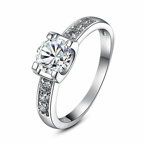 Single Cubic Zirconia Crystal Stone Silver Finish Band