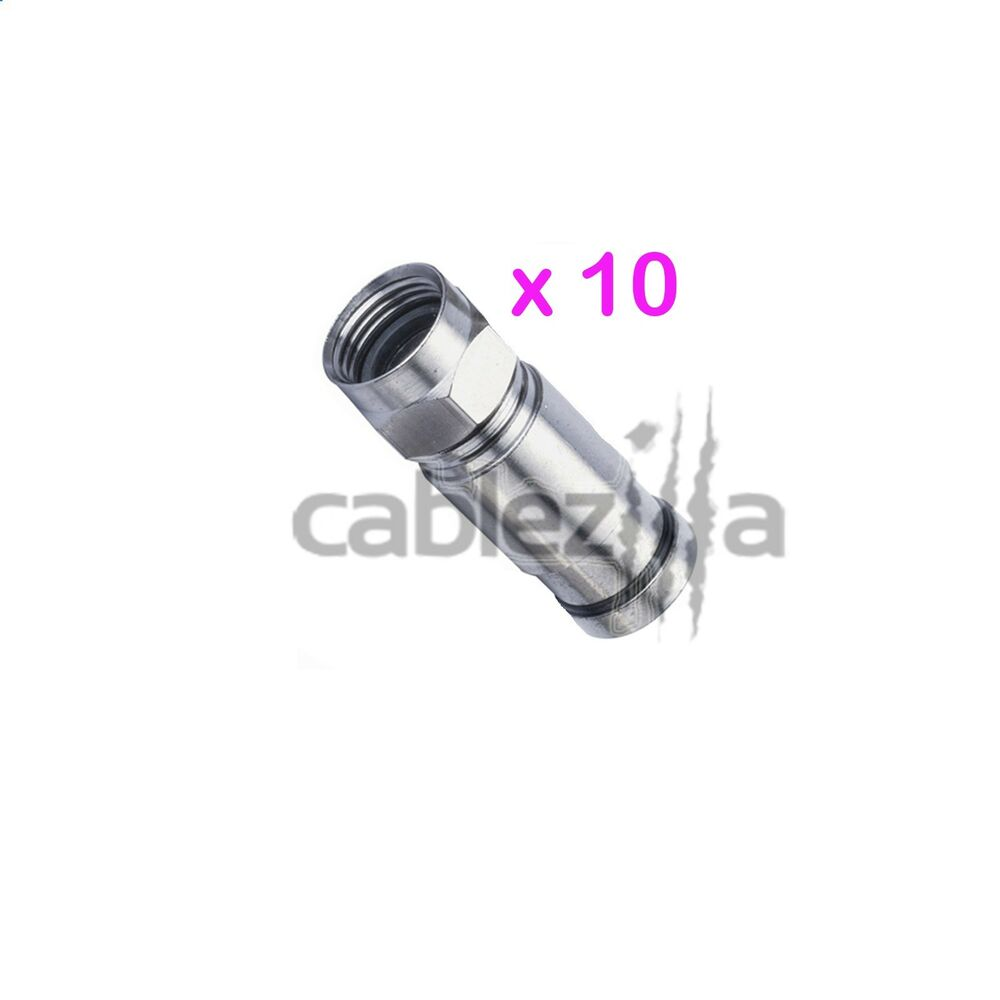 10 RG6 F Compression Male Connector Plug Coax Outdoor