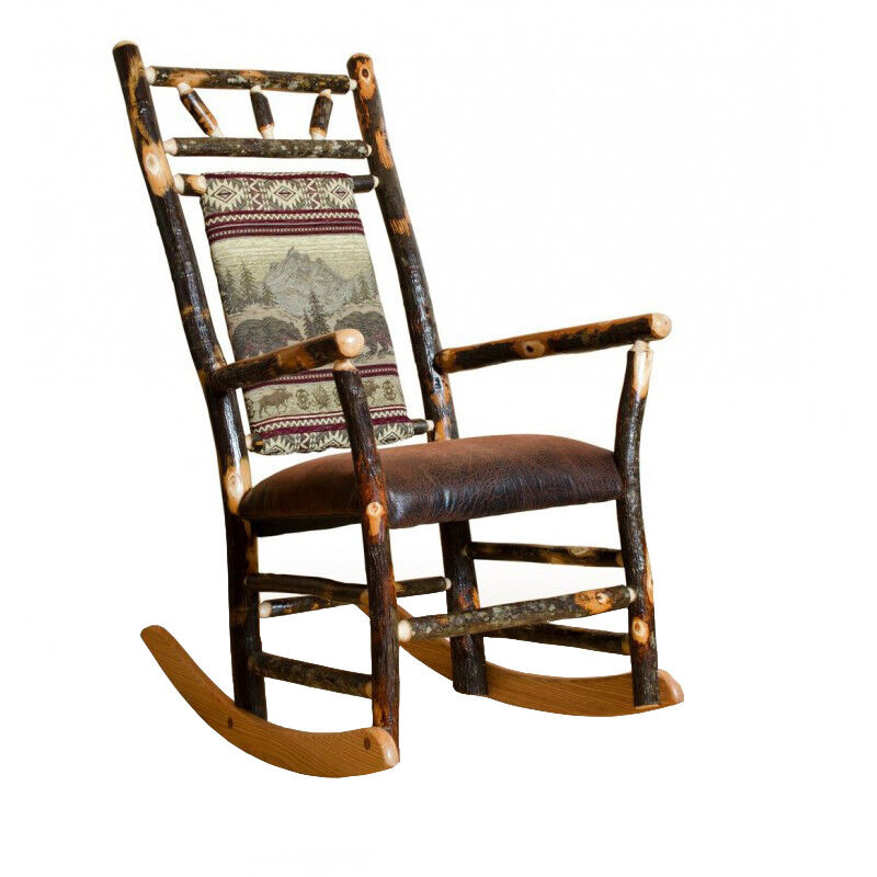 Rustic Hickory Fabric Back Rocking Chair  Ottoman 7