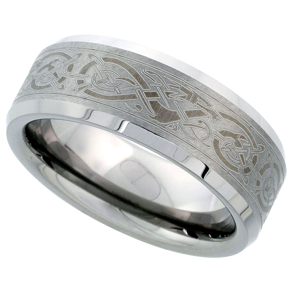 8mm Tungsten Flat Wedding Band Ring Etched Celtic Dragon