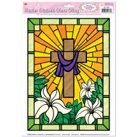 1 EASTER Decoration WINDOW CLINGS Religious CROSS STAINED ...