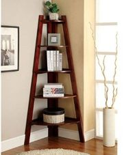Corner Shelf Stand Wood 5 Shelves Display Storage ...