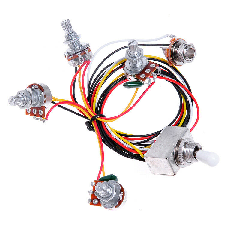 Wiring Harness 2v2t 3way Box Toggle Switch Jack 4 500k For Guitar
