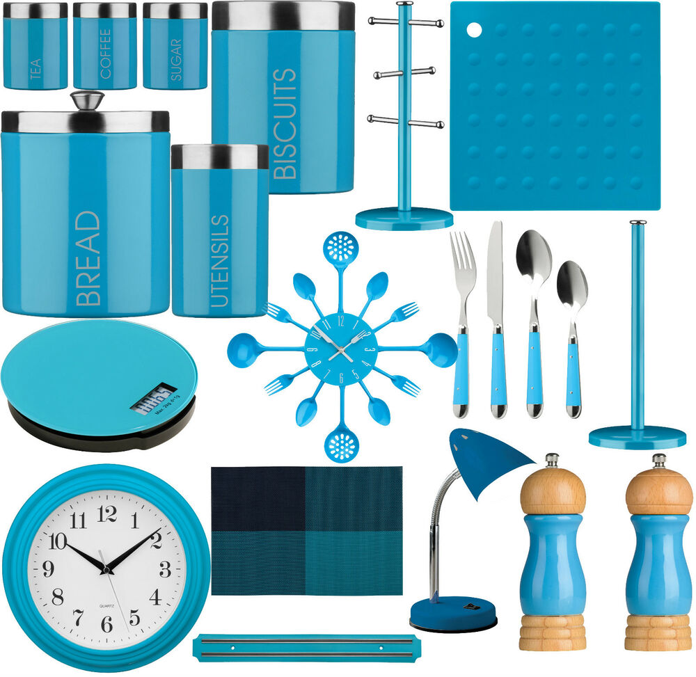 Blue Kitchen Storage Tea CoffeeSugar Cutlery Set Clock