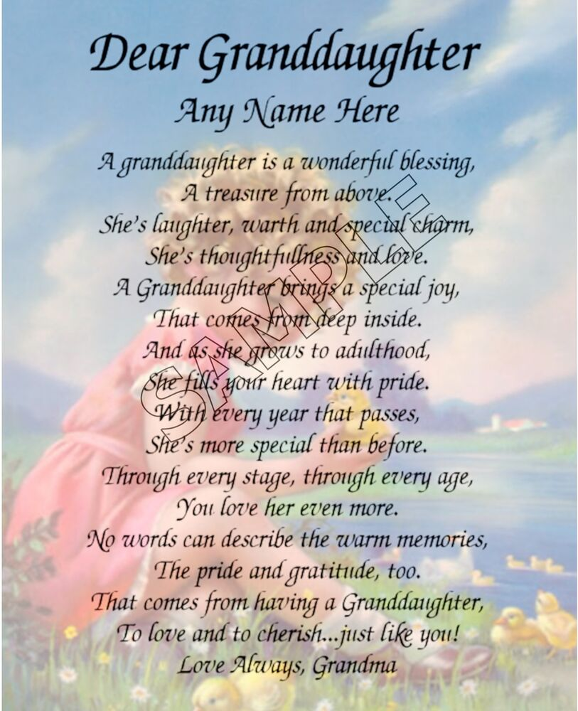 DEAR GRANDDAUGHTER PERSONALIZED ART POEM IMAGE MEMORY