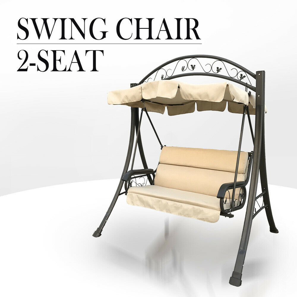 hanging chair ebay au wood table metal chairs outdoor swing canopy garden bench seat steel frame cushion |