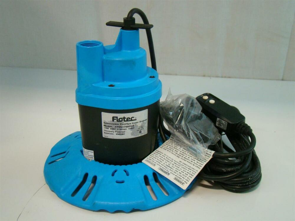 Flotec Submersible Pool Spa Cover Pump 115v 8 5amps 1 4hp